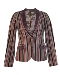 Multicolored Stripped Fashionable Ladies Coat multicolored m