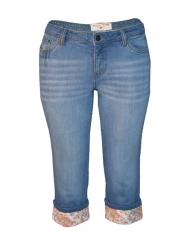 Ladies Capri Jeans With Printed Flower Hem dark blue 6
