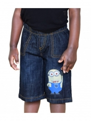 Black Denim Kids Toddler Boys &Girls Cartoon Minion Shorts black denim 2t