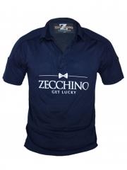 Night Blue-Printed Text Short Sleeved Polo T Shirt night blue xl
