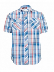 Blue-Checked Short Sleeved Men's Shirt blue checked s
