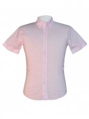 Baby Pink Regular Spread Collar Short Sleeved Official Men's Shirt baby pink m