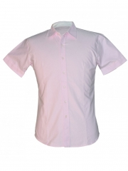Checked Pink Button Down Collar Official Men's Shirt pink checked l