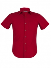 Red-Short Sleeved Men's Slim Fit Shirt red xs