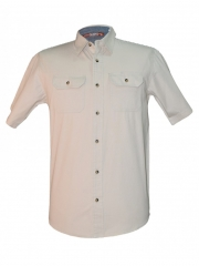 Beige- Men's Short Sleeved Shirt beige m