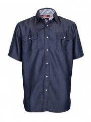 Blue Short Sleeved Men's Denim Shirt blue s