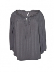 Grey Drawstring Collared Long Sleeved Ladies Top grey s