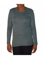 Round Neck Long Sleeved Top grey free size