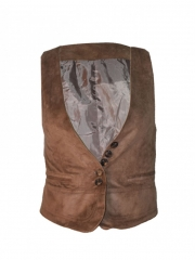 Brown Trendy Ladies Waist Coat brown m