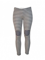 Stripped Ladies Legging black and white s
