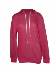 Long Sleeved Ladies Hooded Sweater maroon free size