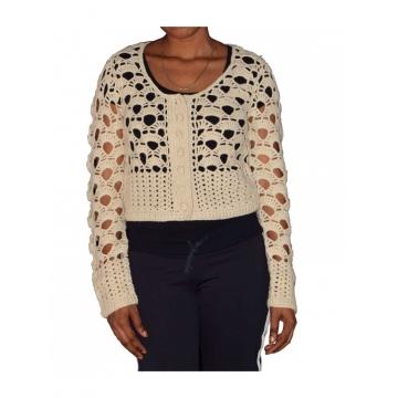 Beige Open Stitch Classy Ladies Sweater Top beige free size