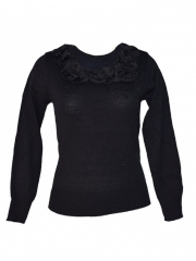 Black Long Sleeved Sweater Top black free size