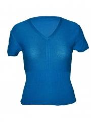 Steel Blue V-Neck Sleeveless Top blue free size