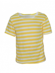 Yellow Stripped Kids Short Sleeved Top yellow and white 9