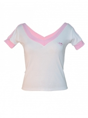 Ladies V neck Short Sleeve Top white m