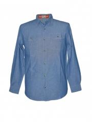 Blue Mens Long Sleeeved Chambray Shirt blue s