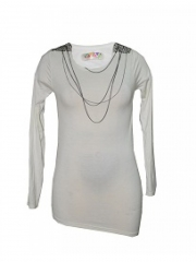 Cream Chain embellished womens top cream free size