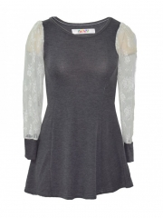 Grey long sleeved ladies dress grey free size