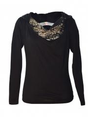 Black Hooded Long Sleeved Ladies Top black free size