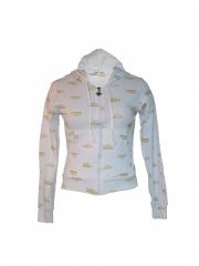 Hooded White Long Sleeved Jacket hooded white free size