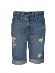 Summer-fit cutoff ripped short blue denim 8