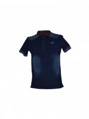Blue Mens Denim Polo Shirt blue s
