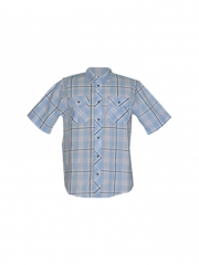 Blue Checked Short Sleeved Mens Shirt blue checked s