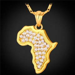 African Map Crystal Pendent Necklace 18k Real Gold/Platinum Plated Rhinestone Women/Men Jewelry 18k Gold Plated