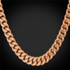 African Chain Necklace 18k Gold/Rose Gold/Platinum/Black Gun Plated Cuban Link Chain Men Jewellery Rose Gold Plated