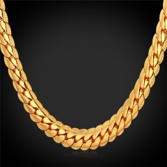 Snake Chain Necklace 18k Gold/Platinum/Rose Gold/Black Gun Plated Chain Necklace Men Jewellery 18k Gold Plated