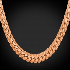 Snake Chain Necklace 18k Gold/Platinum/Rose Gold/Black Gun Plated Chain Necklace Men Jewellery Rose Gold Plated