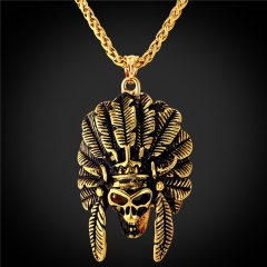 Punk Rock Skull Pendant Necklace 18k Gold Plated Stainless Steel Hiphop Men Jewellery 18k Gold Plated