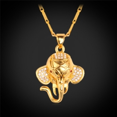 Crystal Elephant Cute Jewelry Pendant Necklace Platinum/18k Gold Plated Women Lucky Jewellery 18k Gold Plated one size