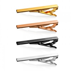 Tie Clip 4PCS 18K Gold/Rose/Black/Platinum Plated Necktie Clip Clasp Men Jewellery Business/Party 4 color