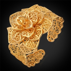 Cuff Bracelets For Women 18K Gold Platinum Plated Luxury Big Flower Bangles Women Wedding Jewellery 18k gold plated one size