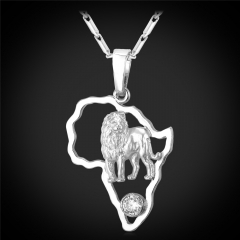 Africa Map Lion Pendant Necklace 18k Gold/Platinum Plated Cubic Zirconia Animal Jewellery Platinum Plated one size