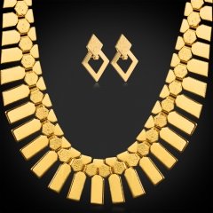 Jewellery Sets For Women 18k Gold Platinum Plated African Statement Necklace Earrings Sets 18k gold plated one size