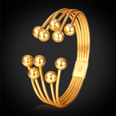 Bangles For Women 18k Gold Platinum Plated Women Multi-Layer Bead Cuff Bracelets Women Jewellery 18k gold plated one size