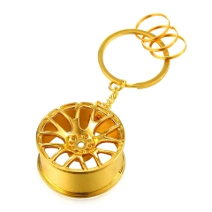 Key Pendant 18K Gold/Platinum/Black Gun Plated Car-Styling Tires Key Holder yellow gold plated