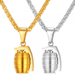 Hiphop Grenade Pendant Necklace Stainless Steel 18k Gold Plated Punk Rock Men Jewelry 18k gold plated