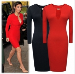 ON SALE........Hot Women Fashion Casual Sexy Dress Long Sleeve Stretch Bodycon Party Dress Springy Black AsiaS=US 2XS