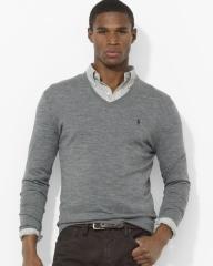 Classic Ralph Lauren Men Chestnut Mesh V neck Sweaters-GRAY.