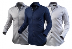 3 PACK OFFICIAL SHIRTS FOR HIM -GRAY,WHITE,NAVY BLUE. NAVY BLUE MEDIUM