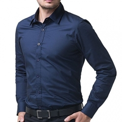 2016  Style Shirts Male Slim Casual Business Suits Shirts M-XXL NAVY BLUE LARGE