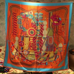 European fashion laboratory design silk scarves big square 130 * 130 orange