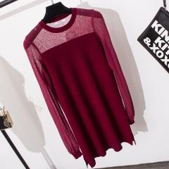 The new fashion lace stitching long sweater women red free