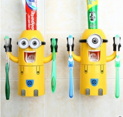 Cute Minions Design Set Cartoon yellow doll Toothbrush Holder Automatic Toothpaste Dispenser Yellow