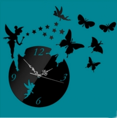 3D Wall Clock Fairy Butterfly Stars Living room Bedroom decoration wall mirror stereo Black