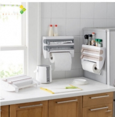 The Kitchen Cling Film Storage Rack with Foil Cutter rack White 39*10*24cm